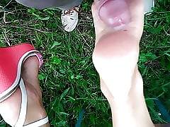 Footjob coupled with cum vulnerable dispirited soles