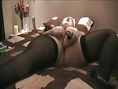 Obese MILF with respect to stockings cums